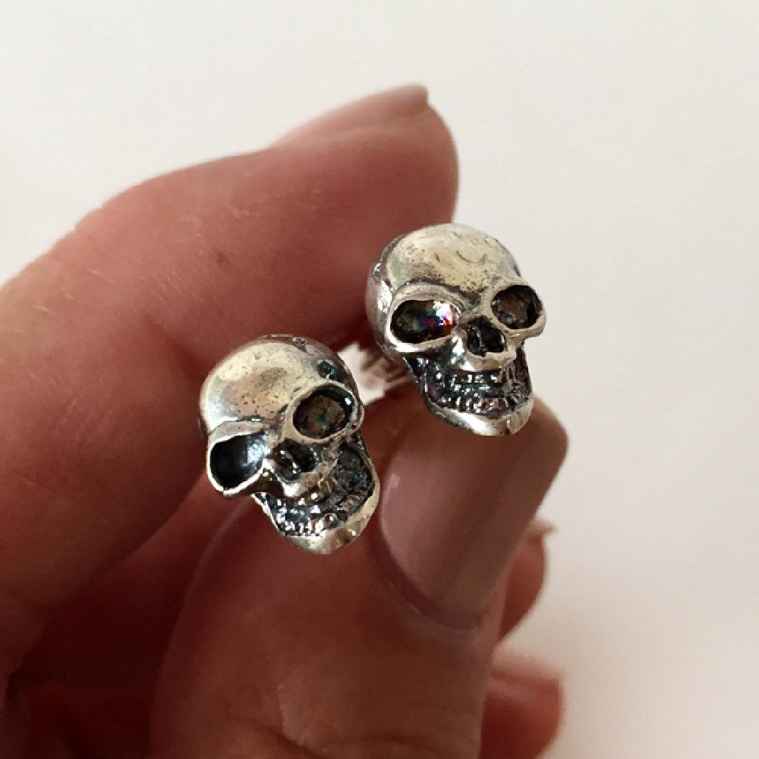 Sterling oxidized silver hand made SCULL shaped
