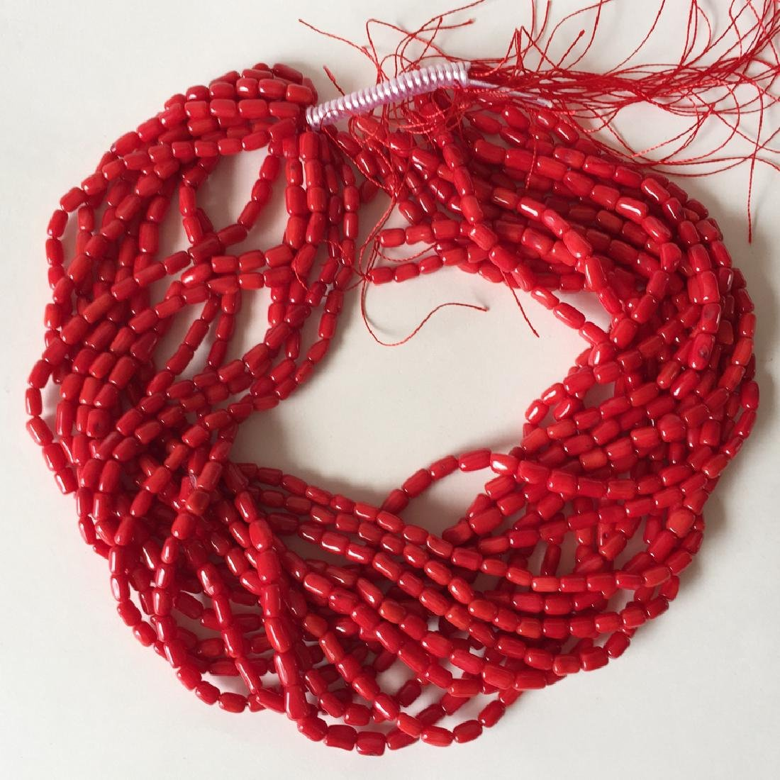 Red color genuine coral roots tube shape beads 15