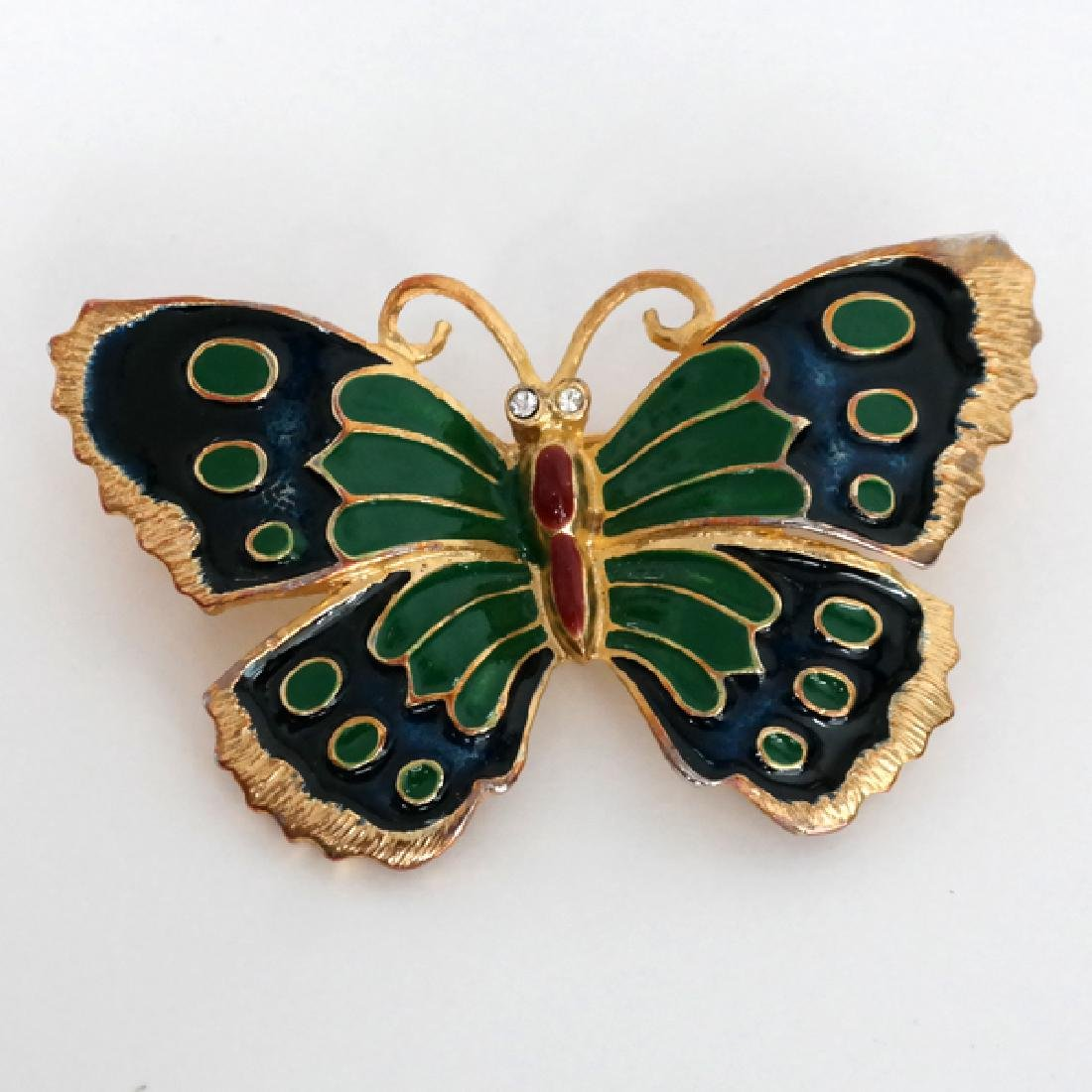 Gold plated enamelled BUTTERFLY shape pin brooch