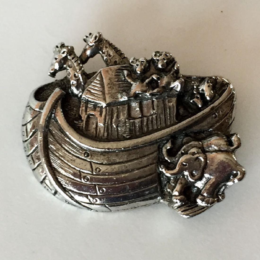 Silver tone antique finish heavy NOEV KOVCHEG shaped