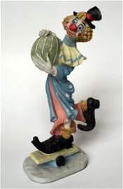 Vintage Clown on skating board figurine statuette,