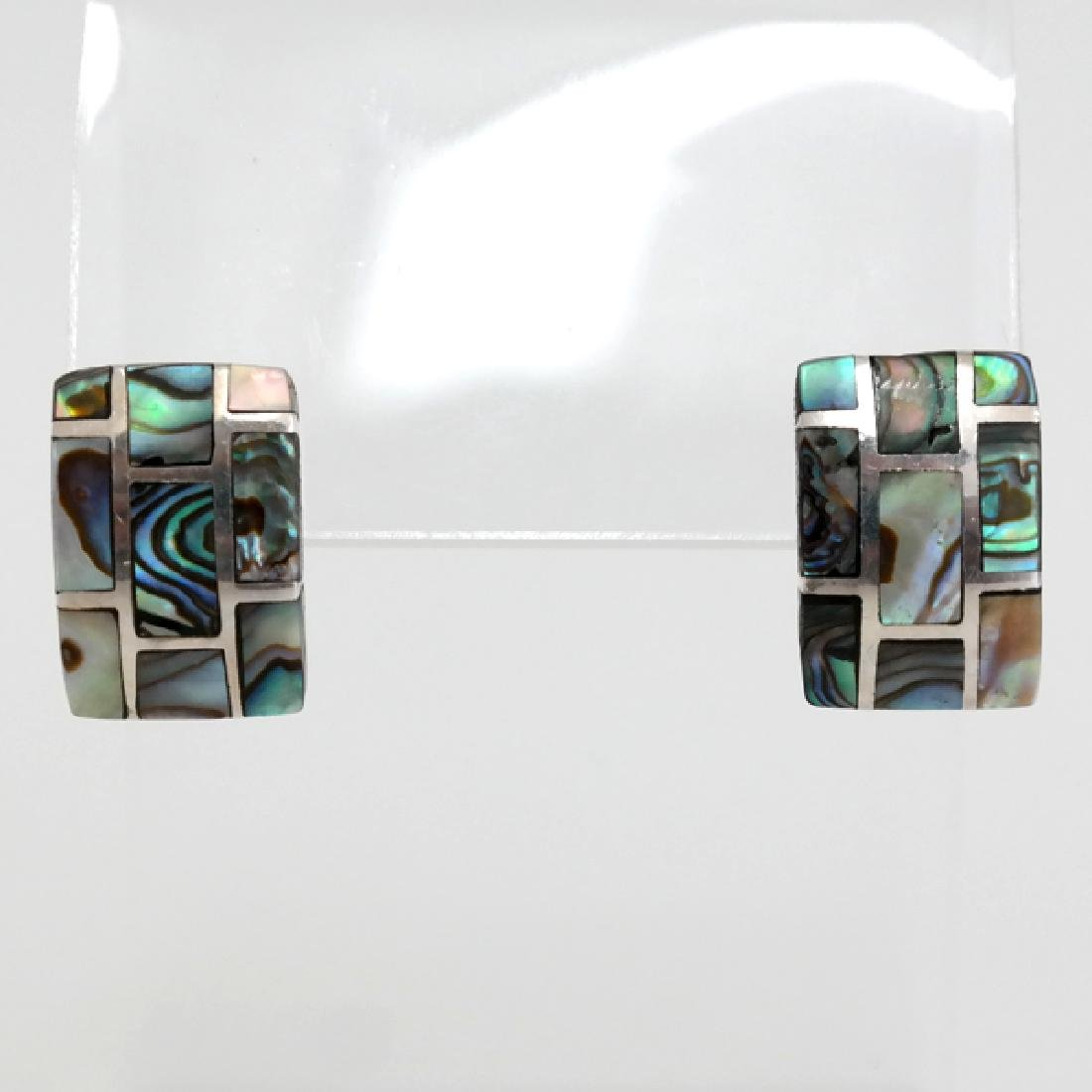 Vintage Sterling Silver Abalone inlay rectangular post - 4