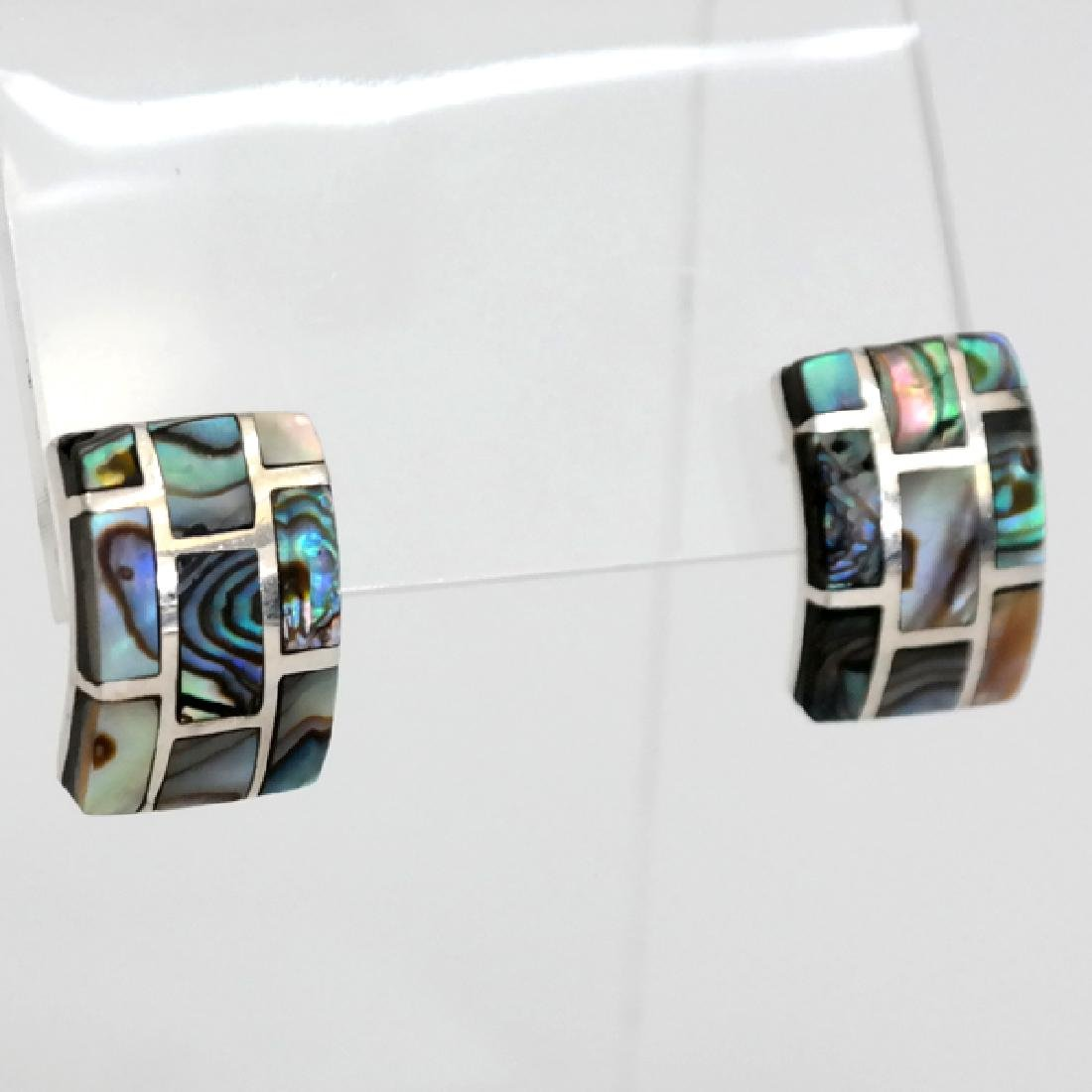 Vintage Sterling Silver Abalone inlay rectangular post