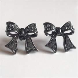 Blackened metal post and push backs earrings in shape