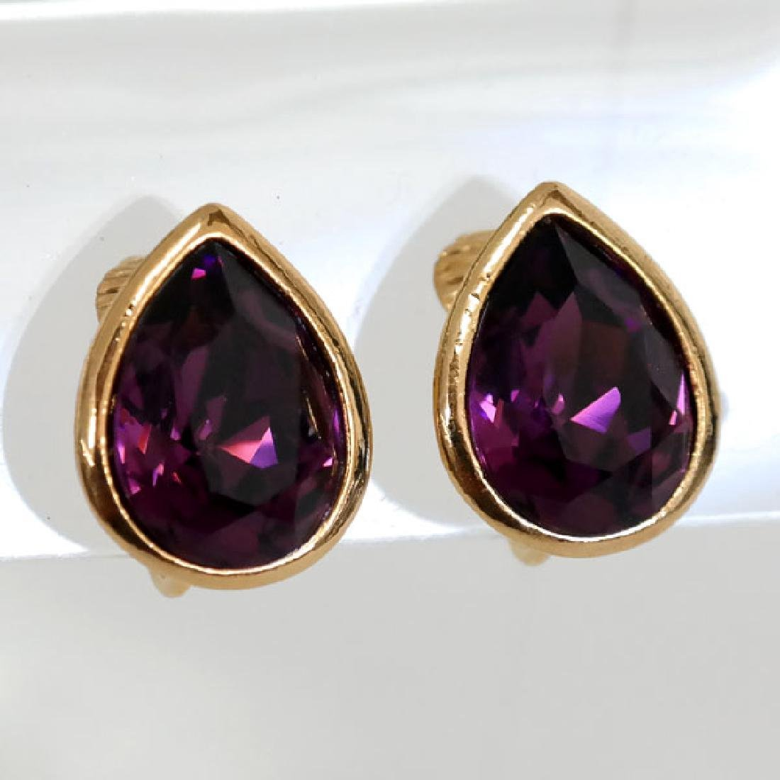 Gold plated pear shape ear clips with bezel set