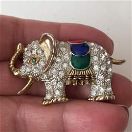 Vintage two tone ELEPHANT shaped brooch with multicolor