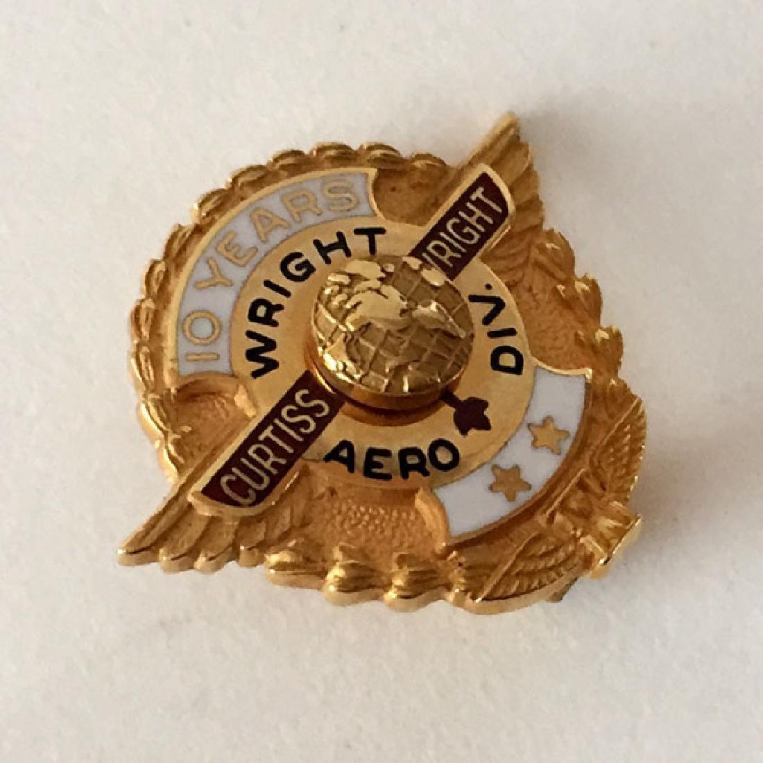 """10k yellow gold enamel award pin signed """"10 years"""