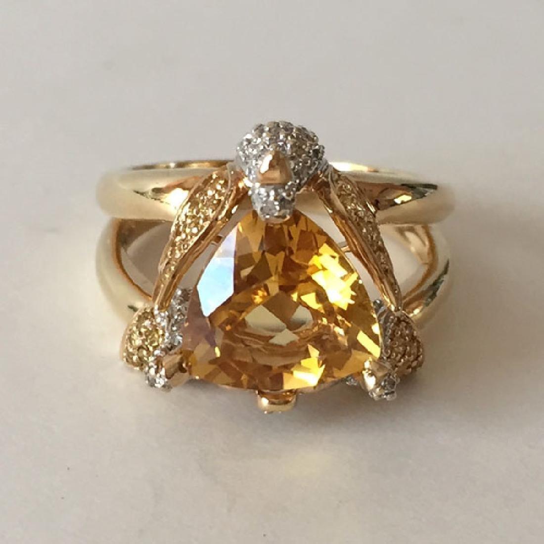 14k yellow gold white diamonds and yellow sapphires 3