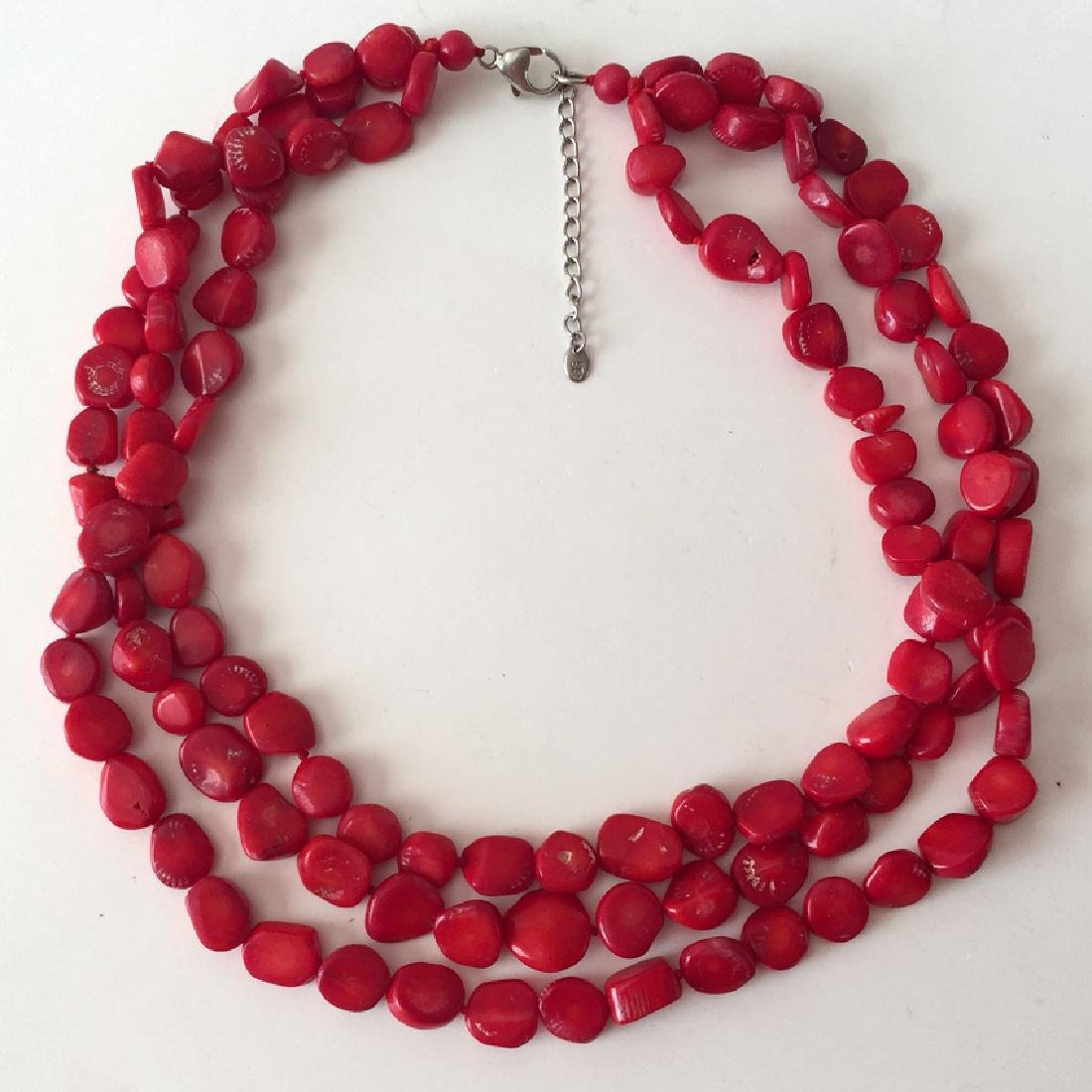 Three strands of knotted genuine red coral roots free