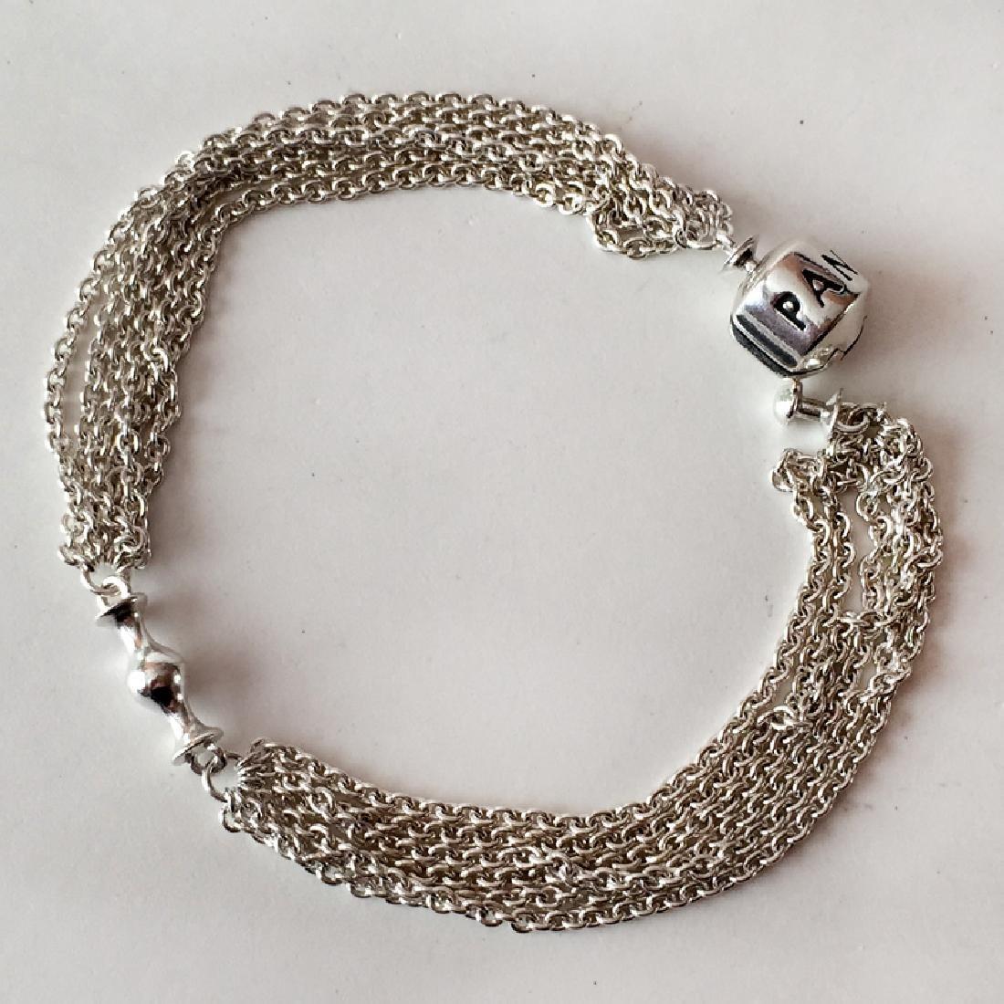 PANDORA: Sterling silver 6 strands Rollo chain bracelet