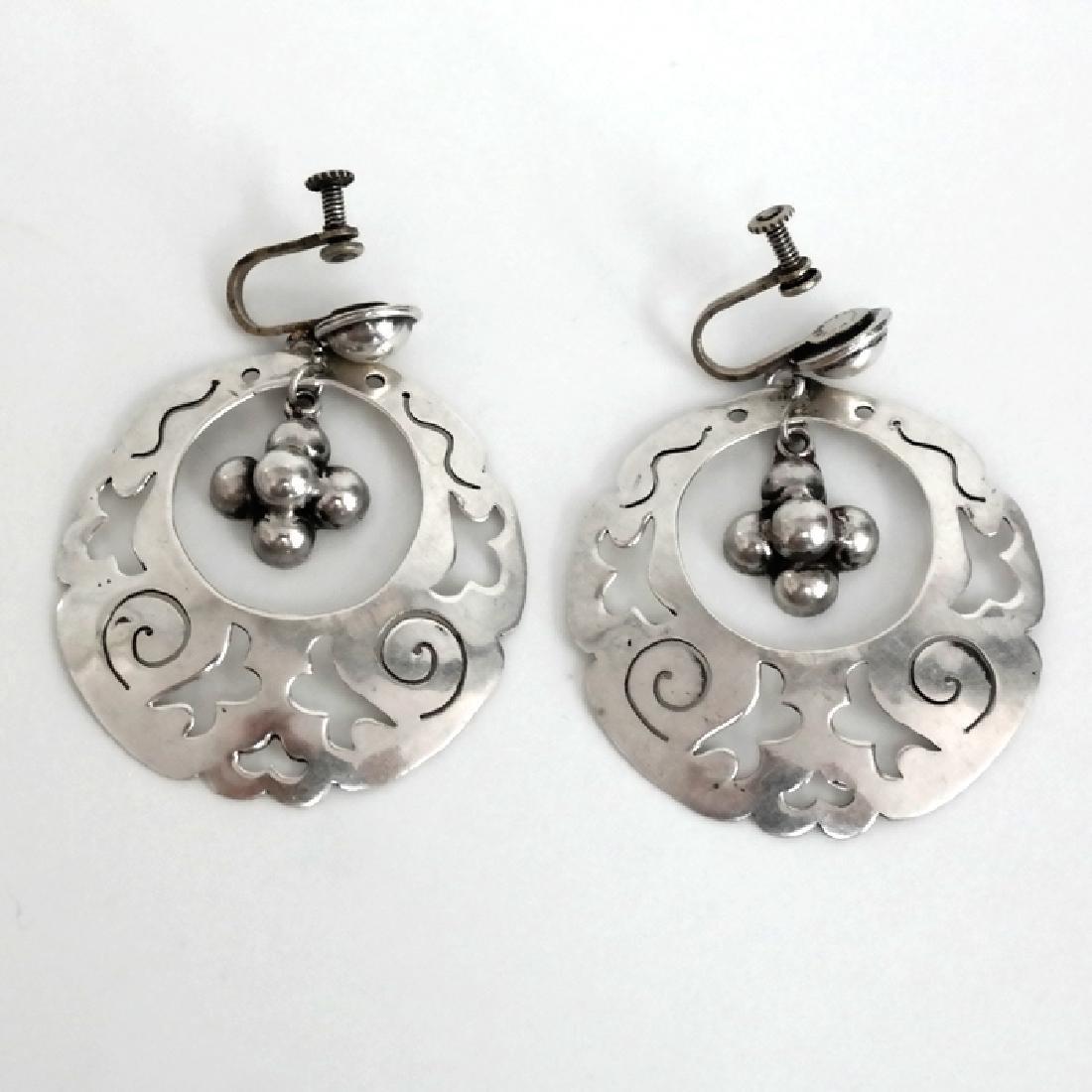 Vintage huge sterling silver dangling ear clips