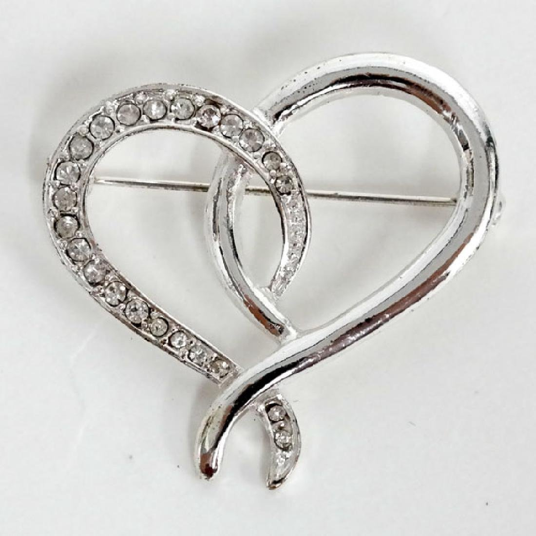 Silver tone HEART shaped brooch with white rhinestones