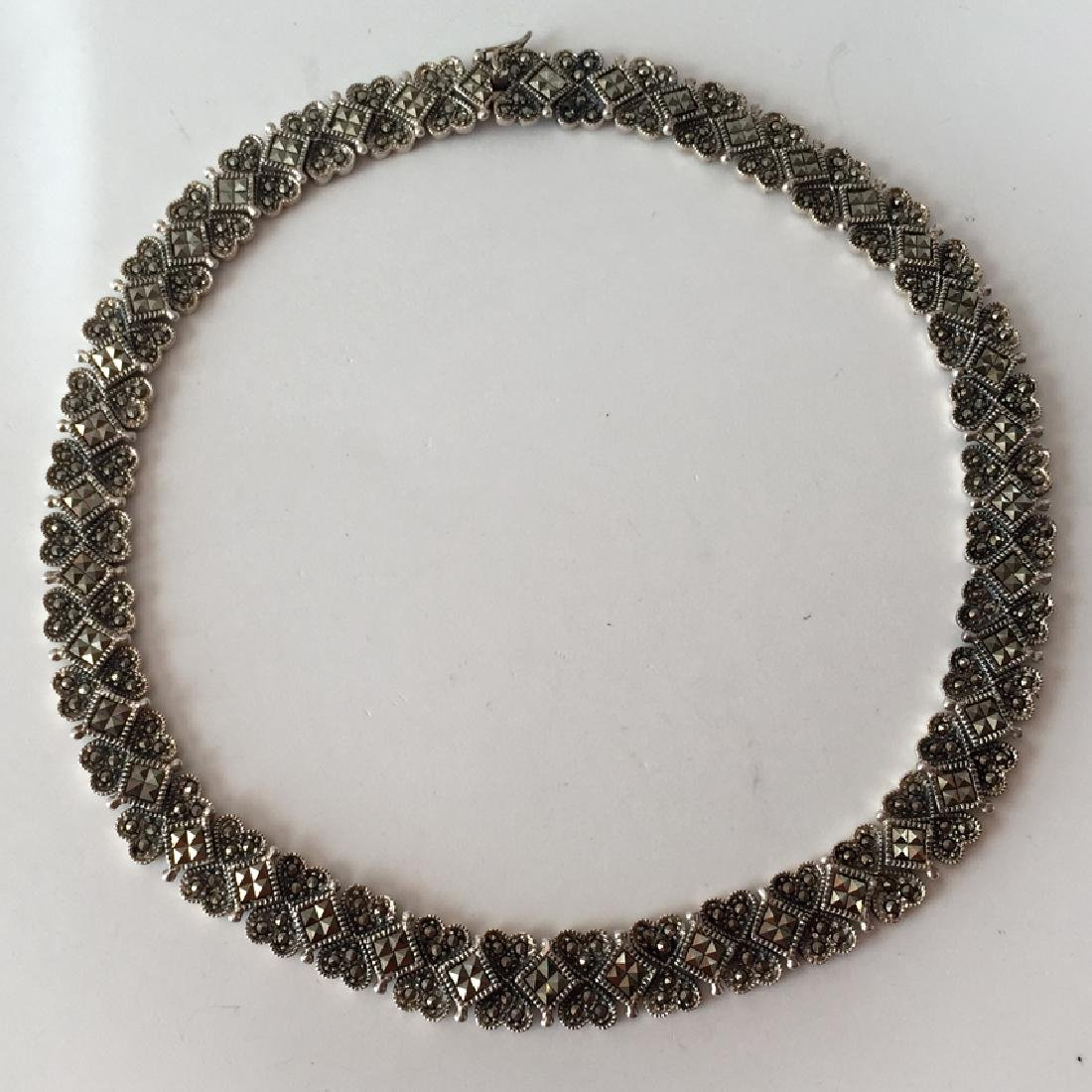 Sterling oxidized silver flexible marcasites necklace