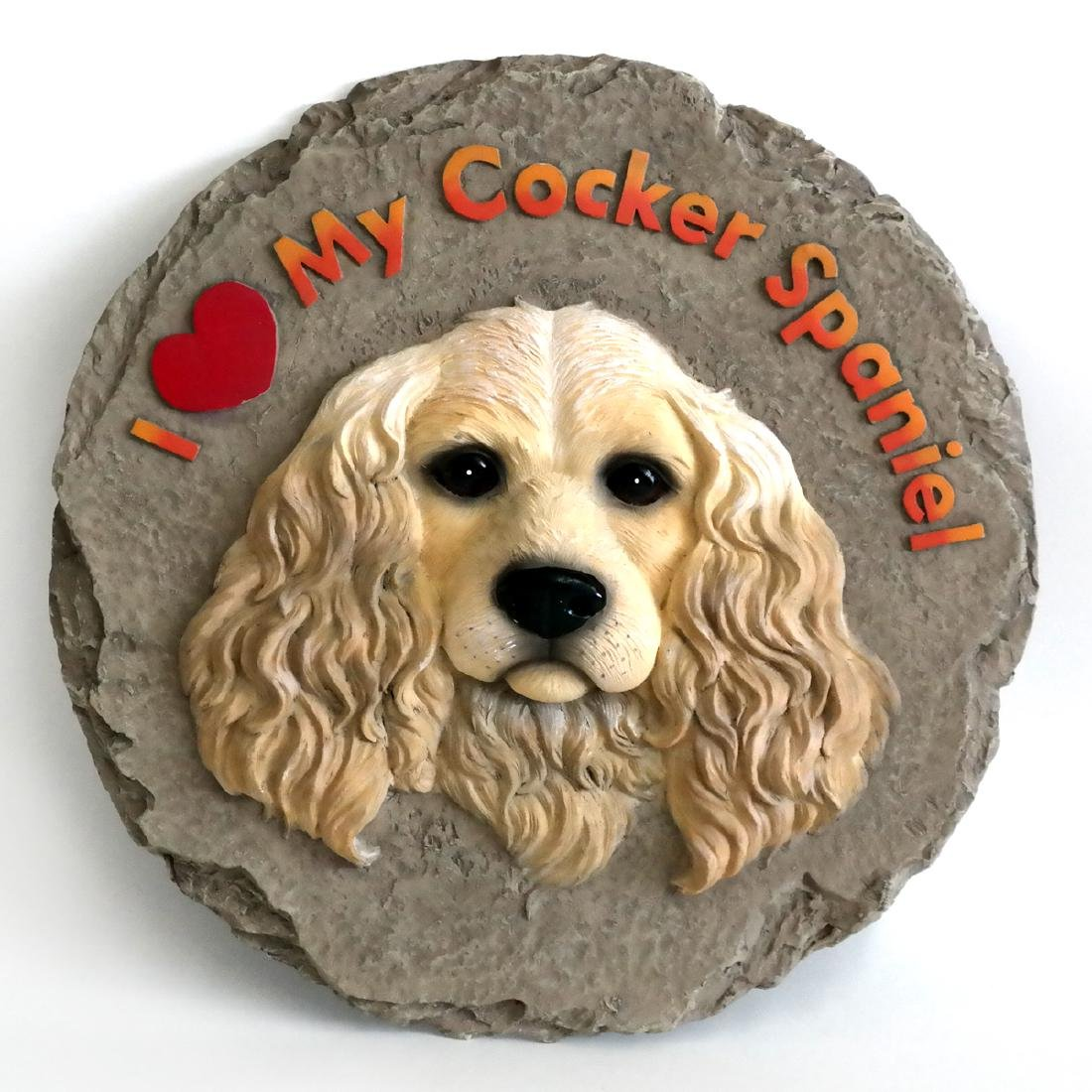 Cocker Spaniel stepping stone wall plaque, signed