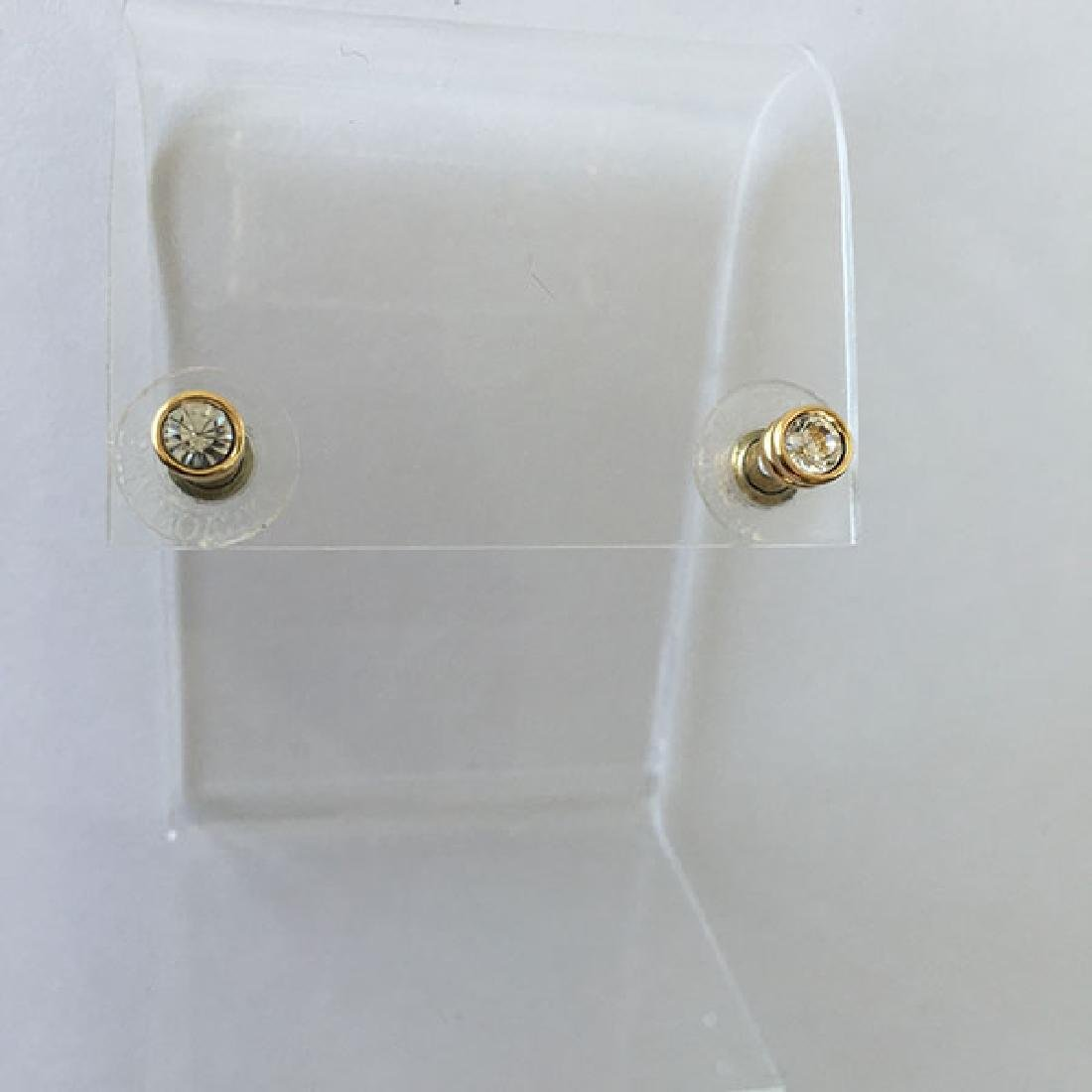 Gold plated post and push backs earrings with bezel set - 4