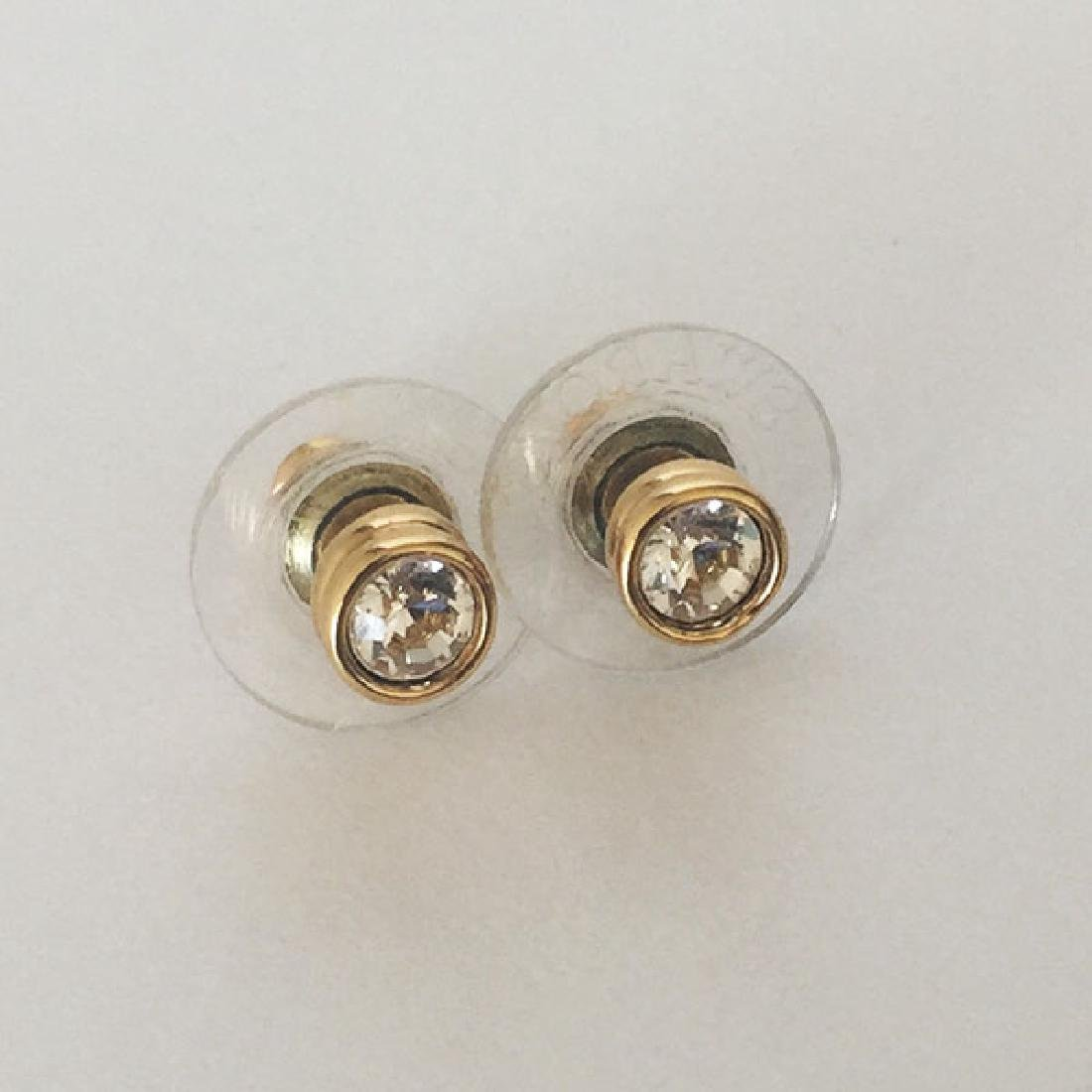Gold plated post and push backs earrings with bezel set - 2