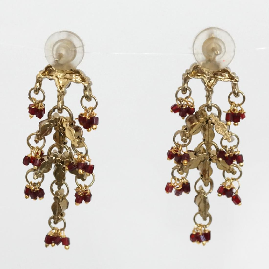 Gold plated red rhinestones dangling chandelier push - 2