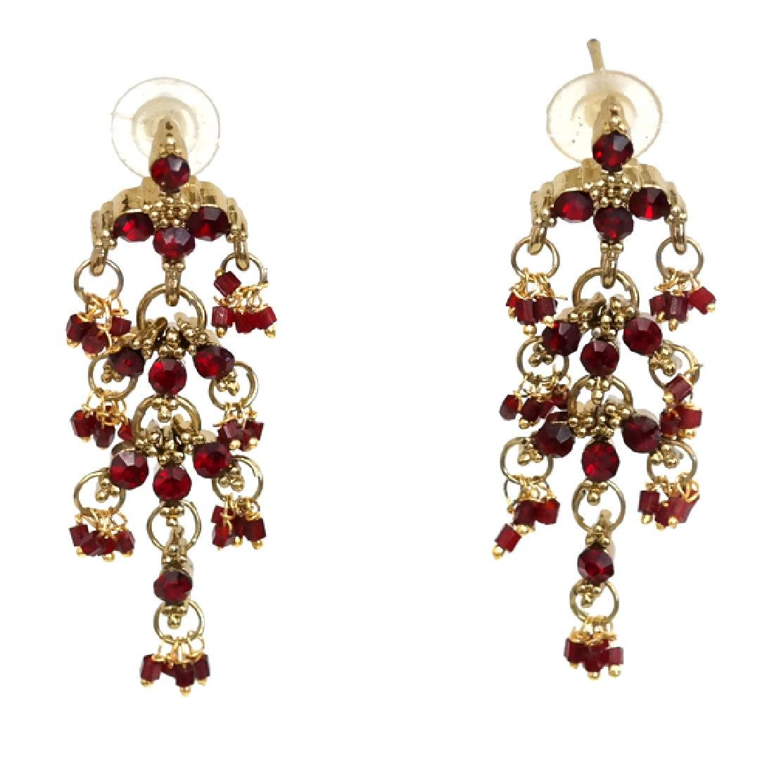 Gold plated red rhinestones dangling chandelier push