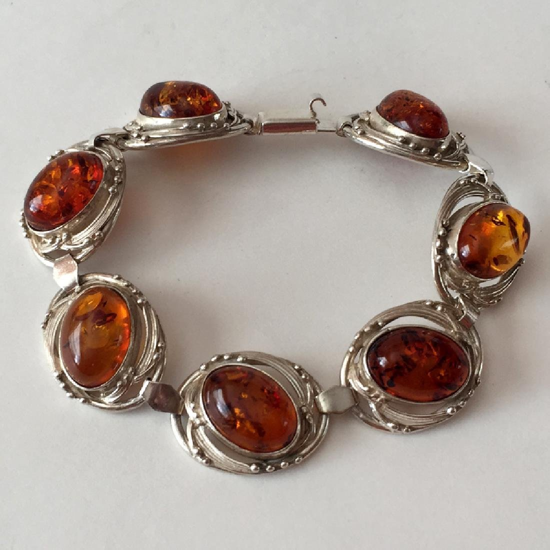 Sterling silver 7 oval genuine Amber cabochons flexible - 4