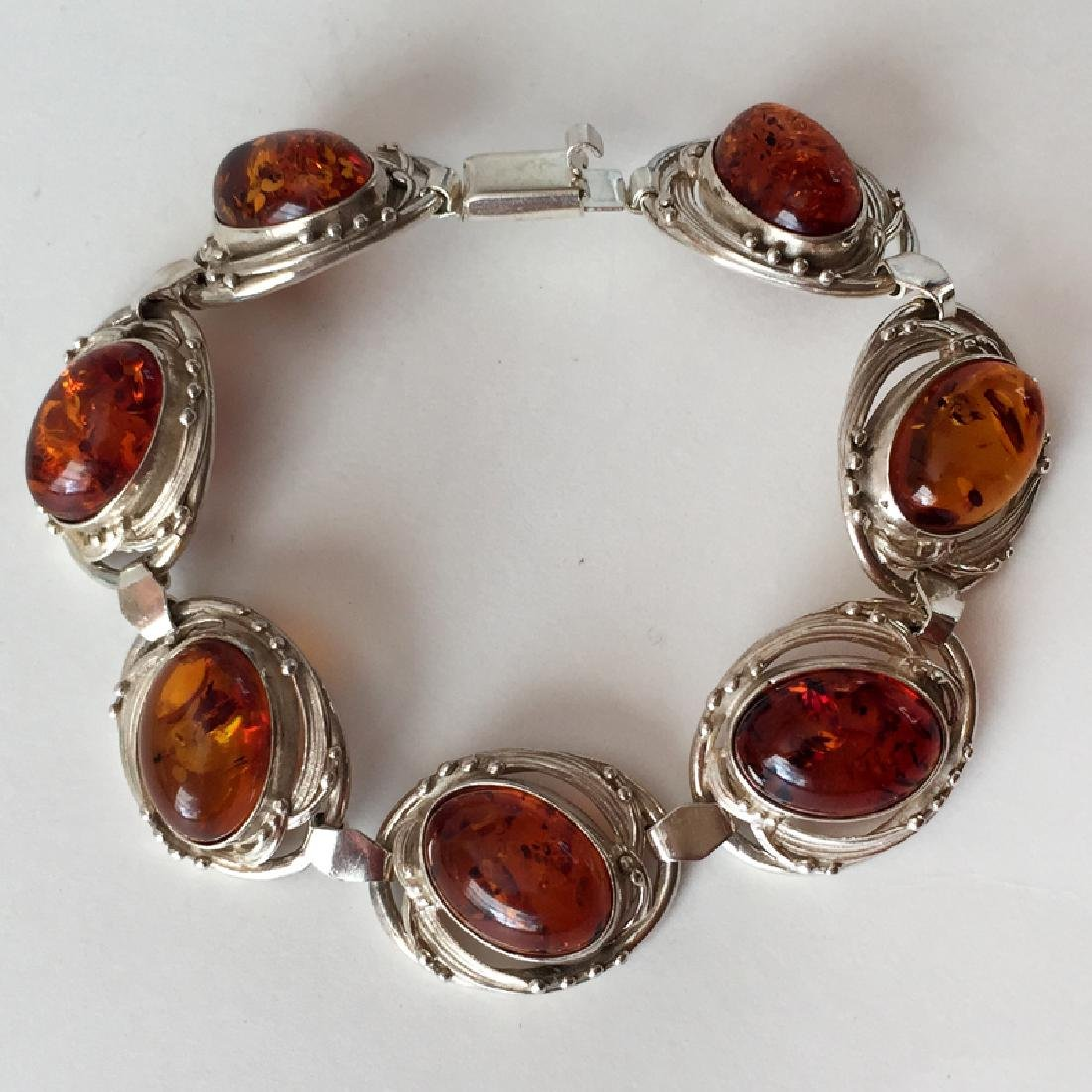 Sterling silver 7 oval genuine Amber cabochons flexible
