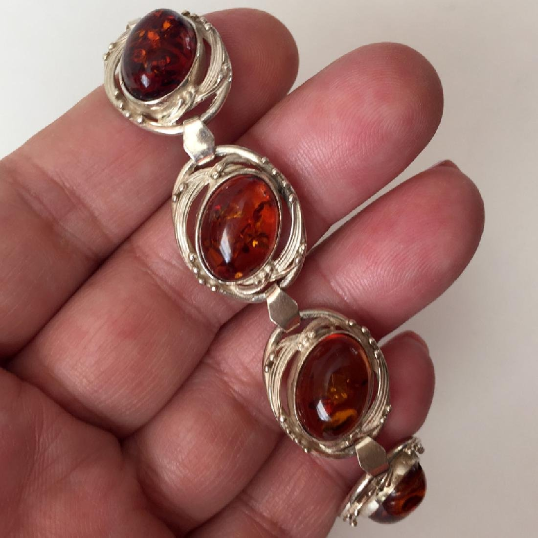 Sterling silver 7 oval genuine Amber cabochons flexible - 3