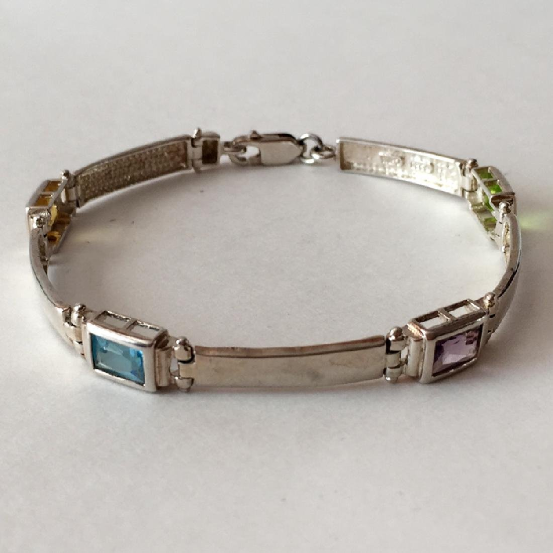 Sterling silver bracelet with lobster clasp and - 5