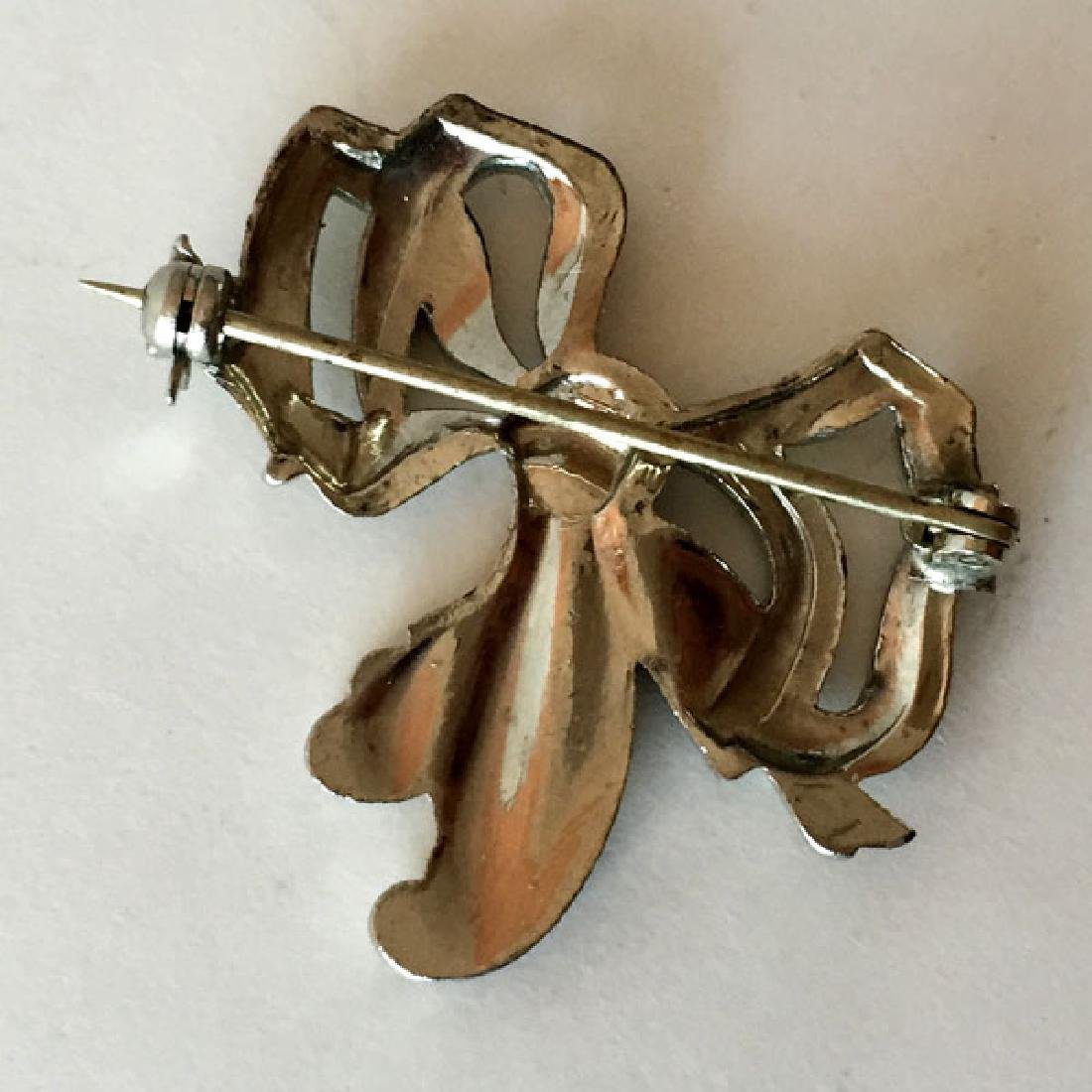 Silver tone antique finish BOW shaped brooch with - 2