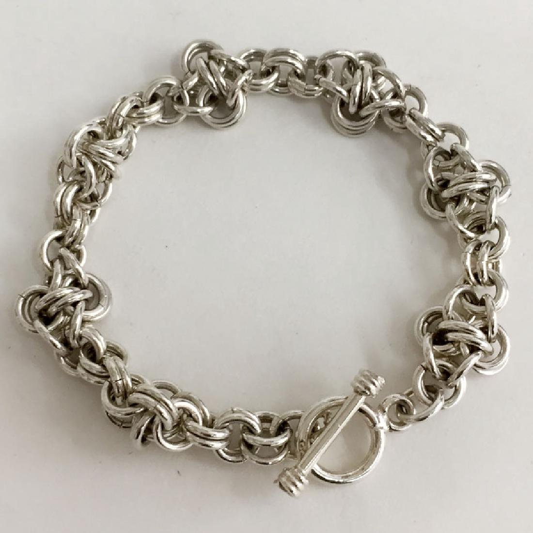 Sterling silver double Rollo links bracelet with toggle