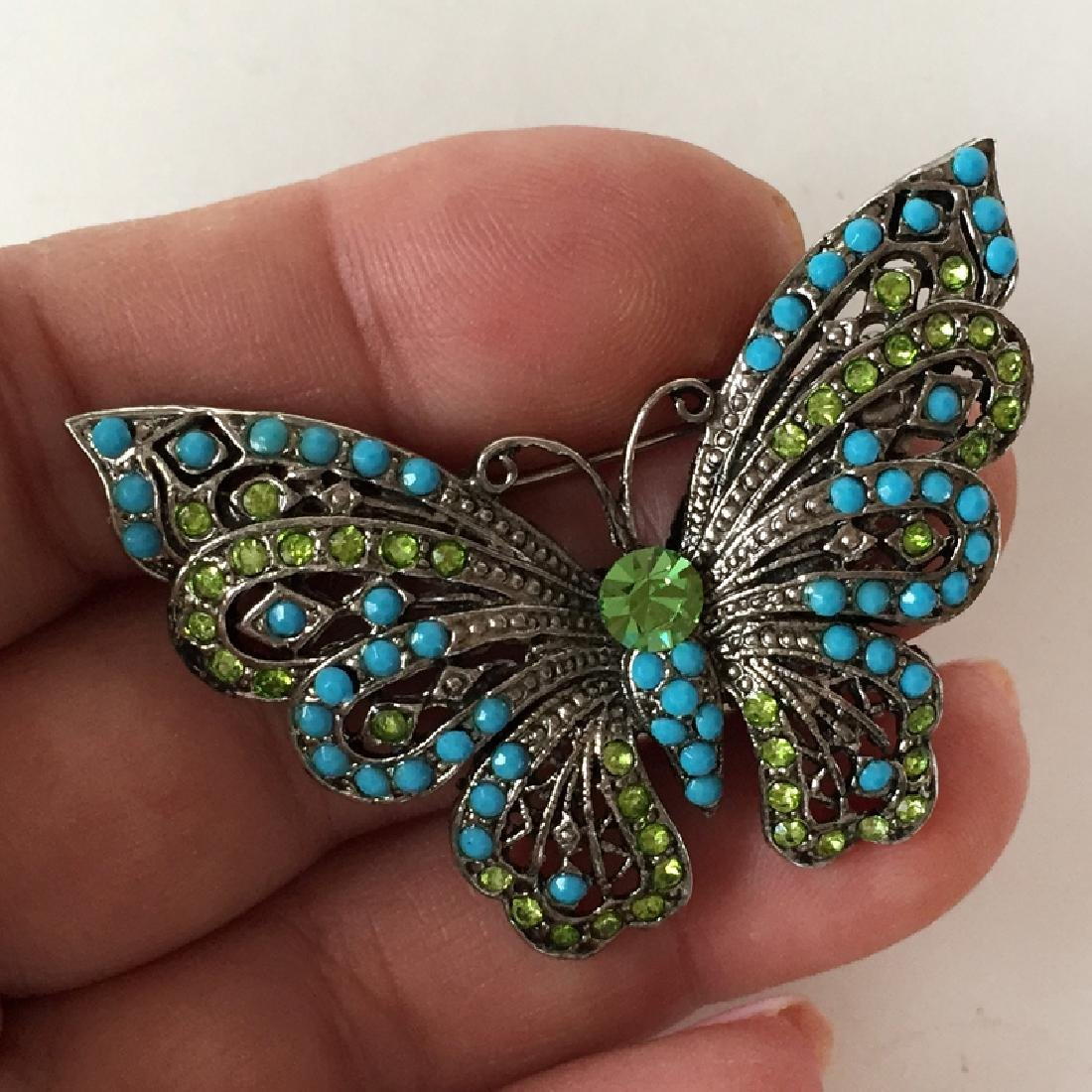 Silver tone BUTTERFLY shaped brooch with rhinestones