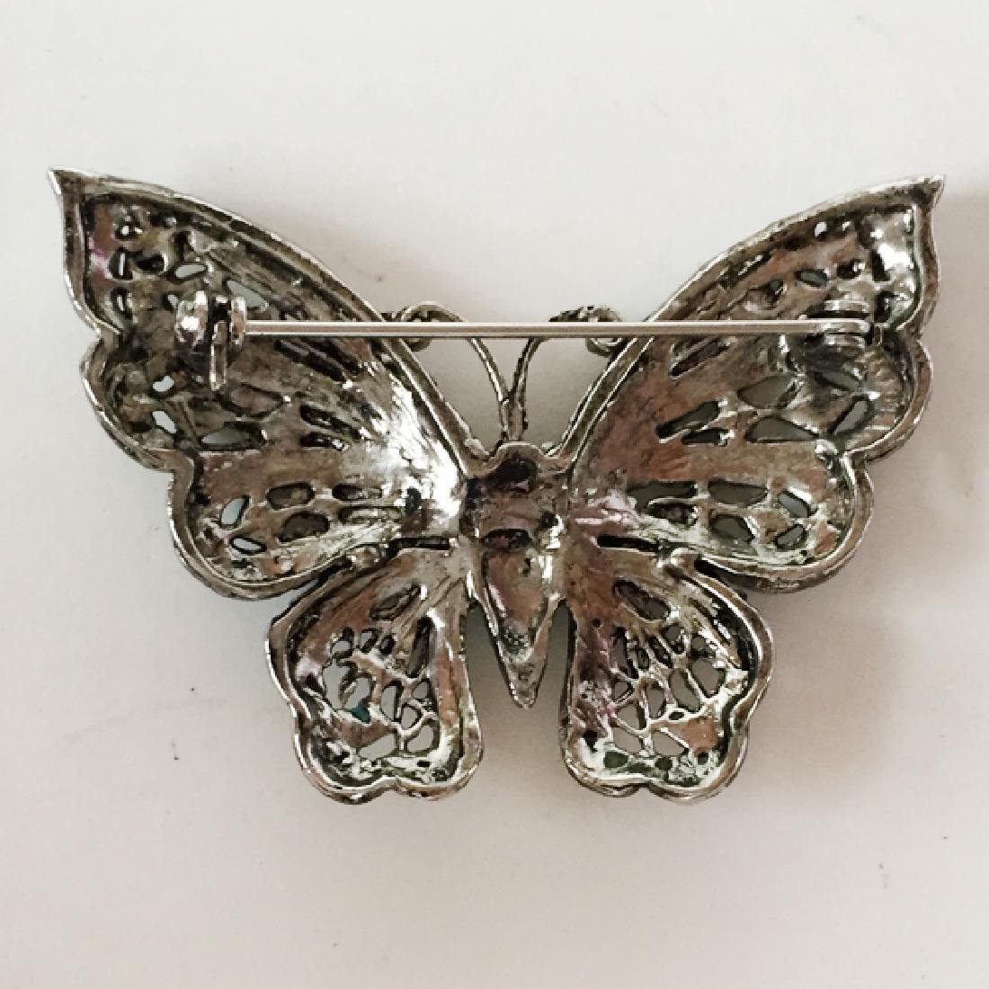Silver tone BUTTERFLY shaped brooch with rhinestones - 2