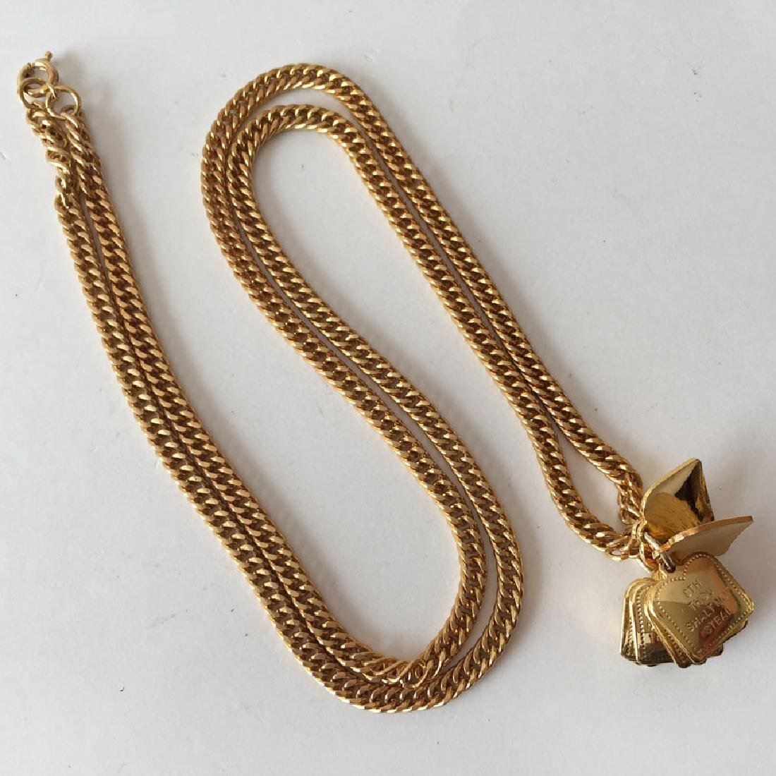 "Gold plated chain with ""10 Commandments"" dangling"
