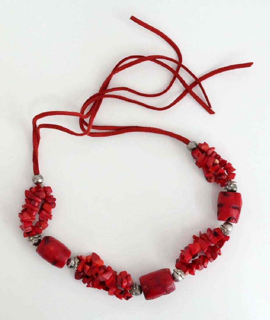 Genuine red BAMBOO CORAL and silver tone beads necklace - 4