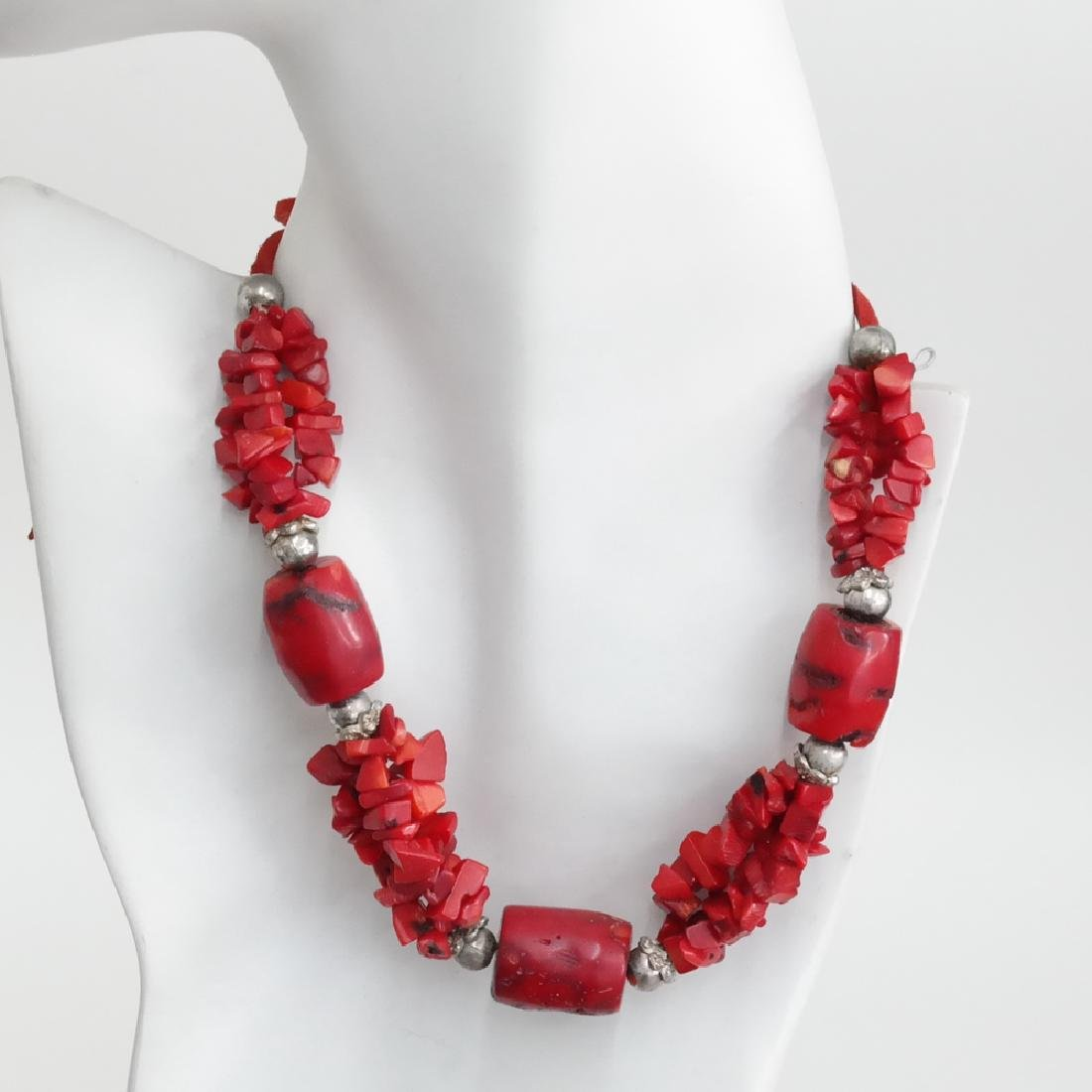 Genuine red BAMBOO CORAL and silver tone beads necklace