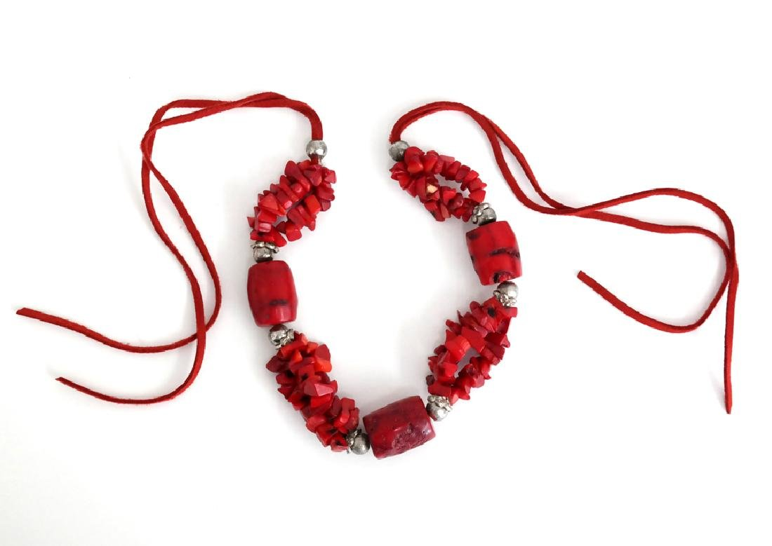 Genuine red BAMBOO CORAL and silver tone beads necklace - 2