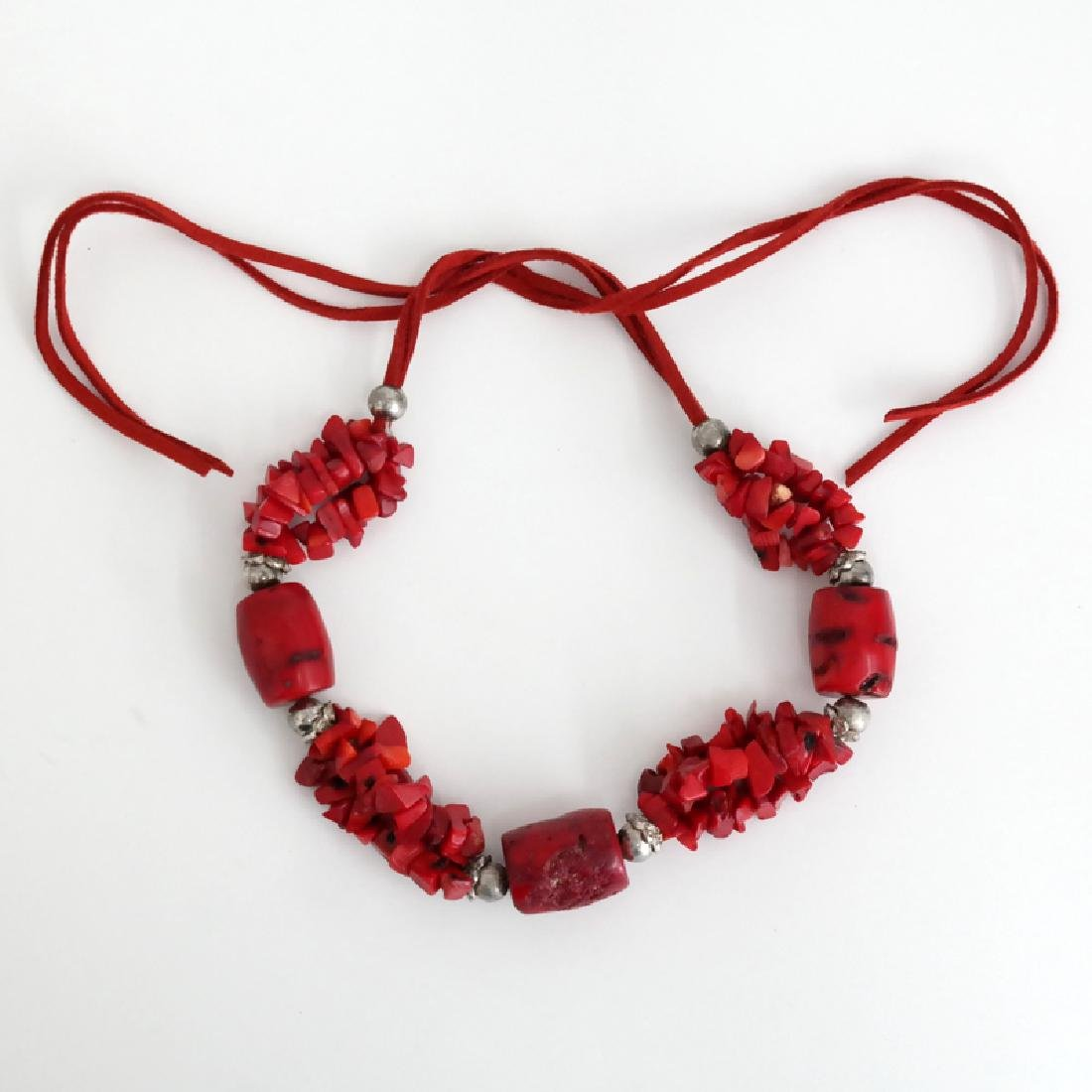 Genuine red BAMBOO CORAL and silver tone beads necklace - 3