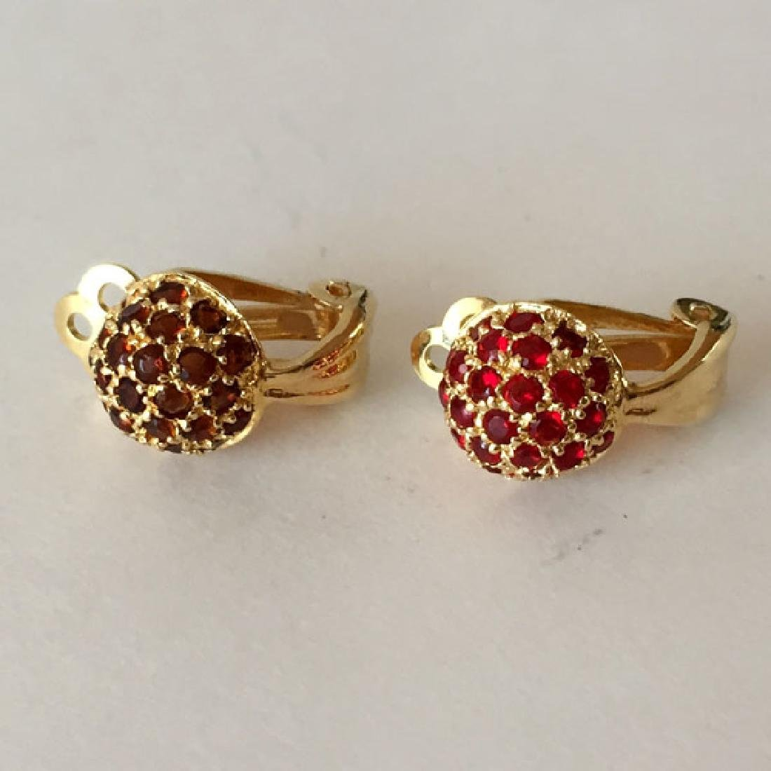 Gold plated sterling silver dome shaped ear clips with - 5