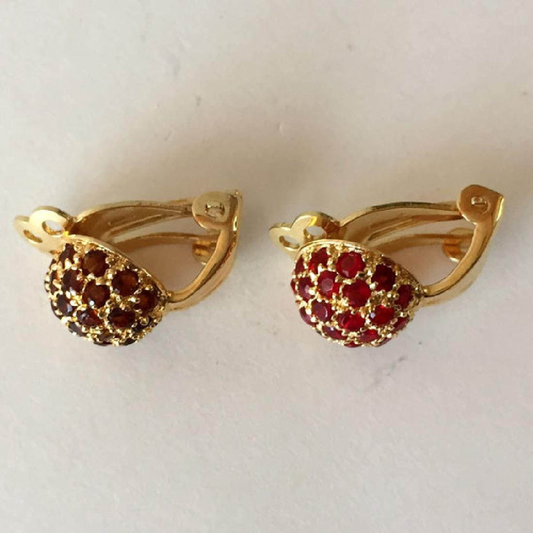 Gold plated sterling silver dome shaped ear clips with - 2