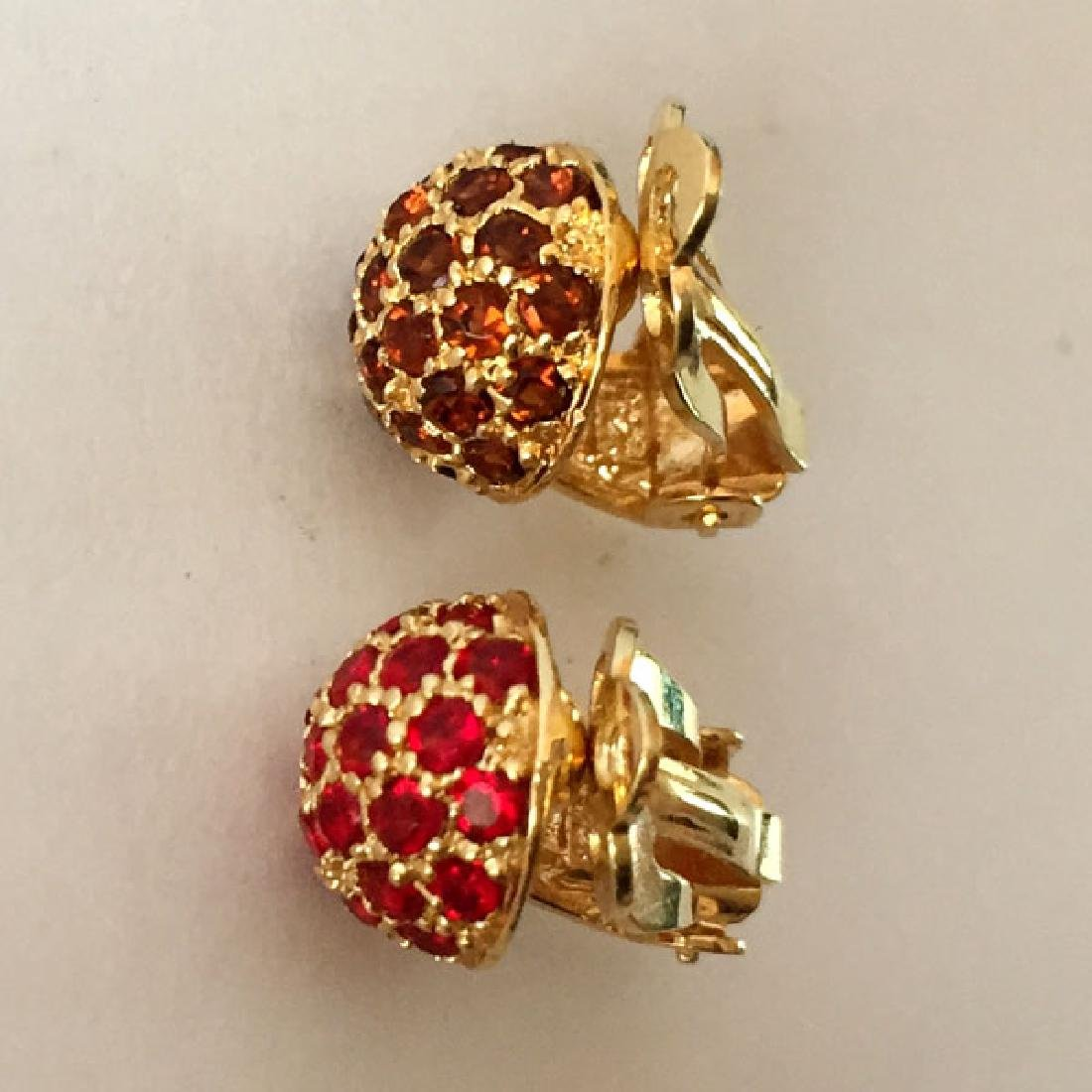 Gold plated sterling silver dome shaped ear clips with - 4