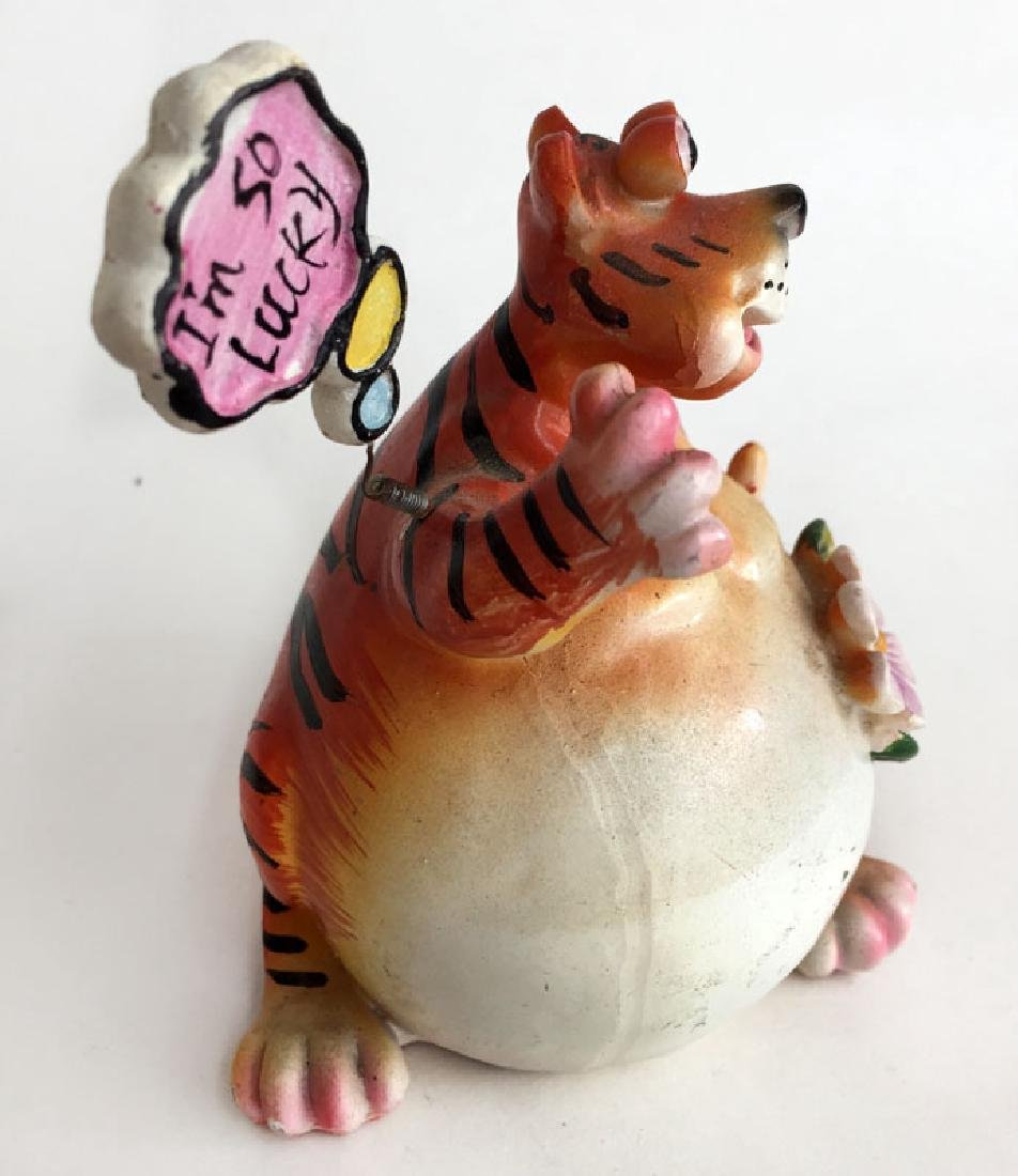 """Porcelain FUNNY TIGER with sign """"I'am so lucky"""" - 2"""
