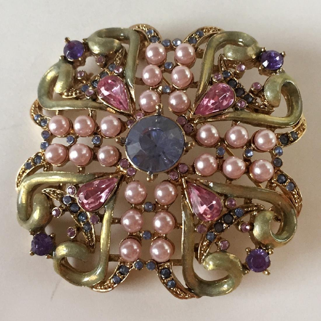 Antique color metal with multicolor rhinestones and