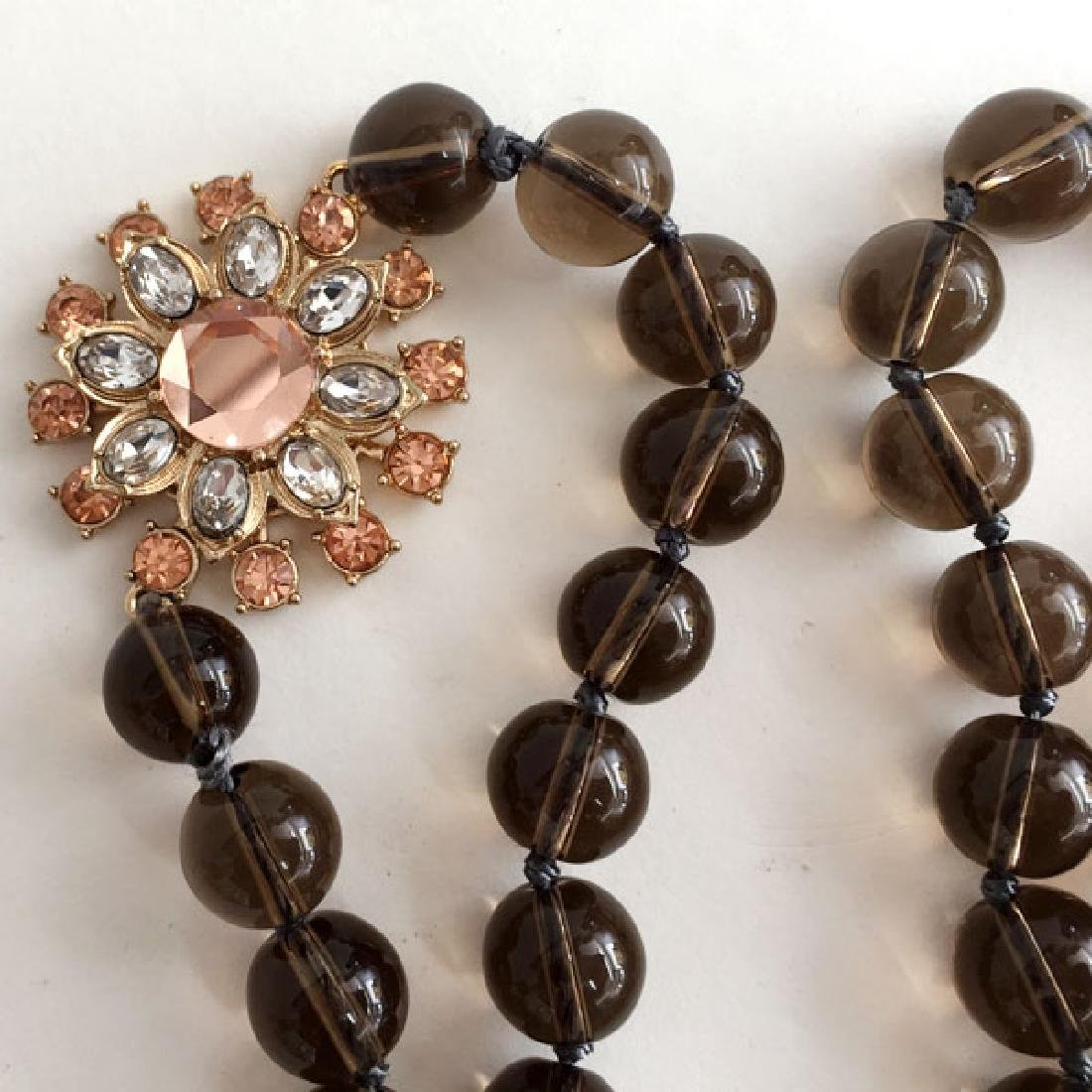 Smokey Quartz glass beads knotted necklace with gold - 2