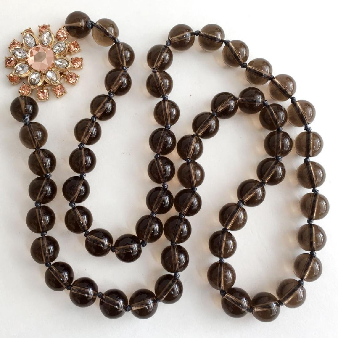 Smokey Quartz glass beads knotted necklace with gold