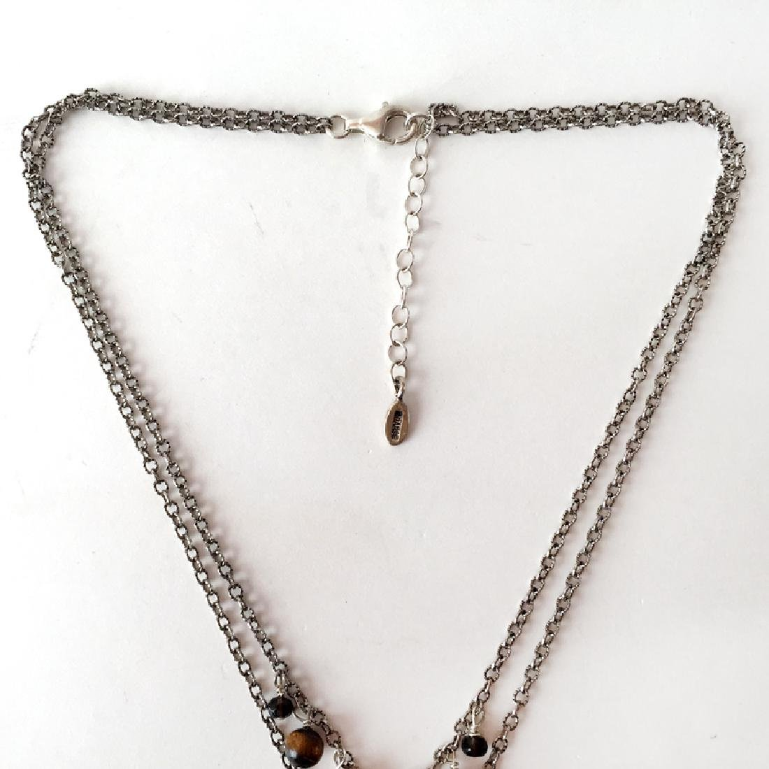 BARSE: Sterling silver 2 strands necklace with - 2
