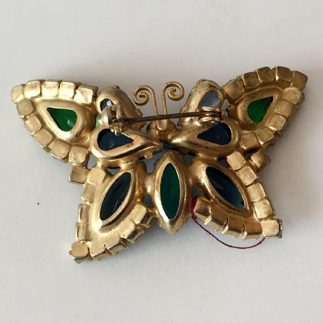 Vintage gold plated BUTTERFLY shaped brooch with prongs - 2