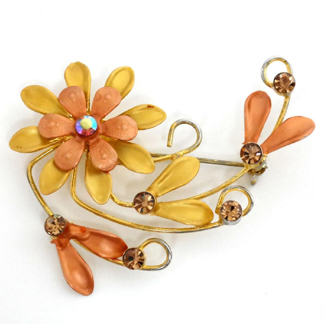 Gold plated FLOWERS shaped brooch with multicolor