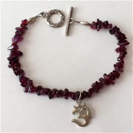 Sterling silver rhodolite garnet chips bracelet with