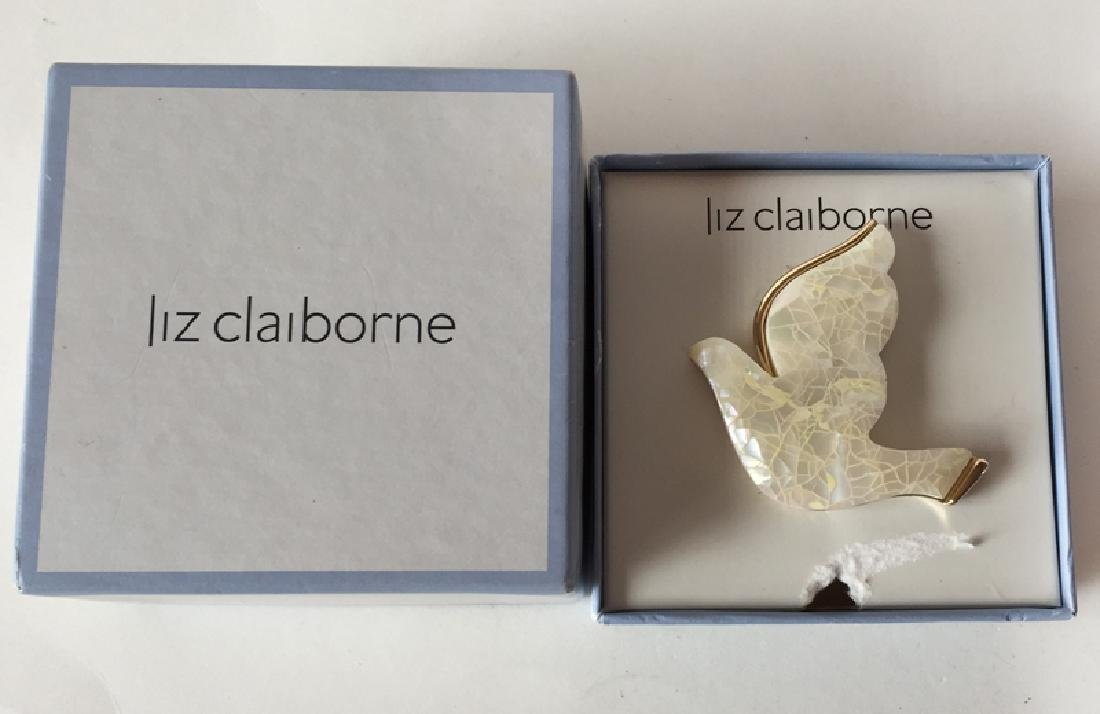 LIZ CLAIBORNE: White mother of pearl mosaic on gold