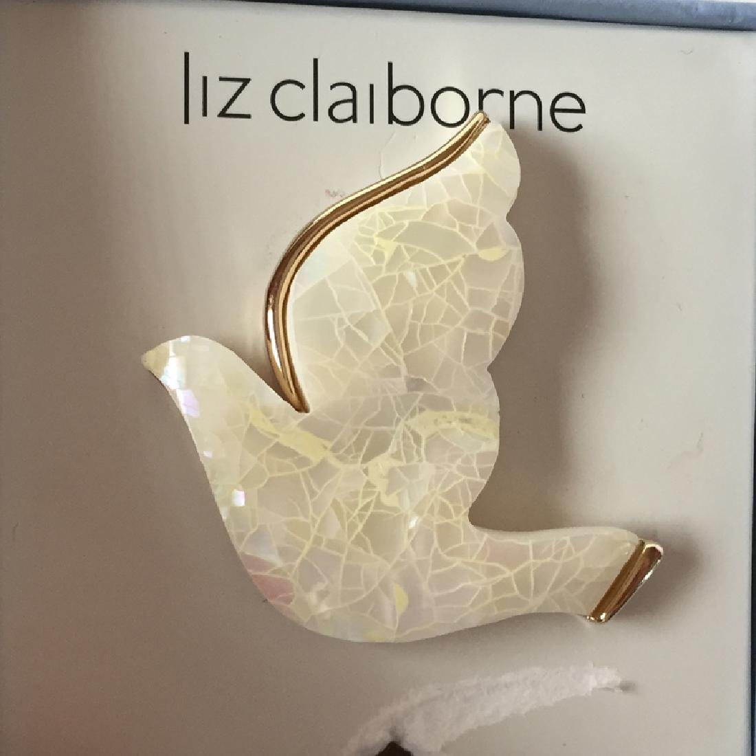 LIZ CLAIBORNE: White mother of pearl mosaic on gold - 2