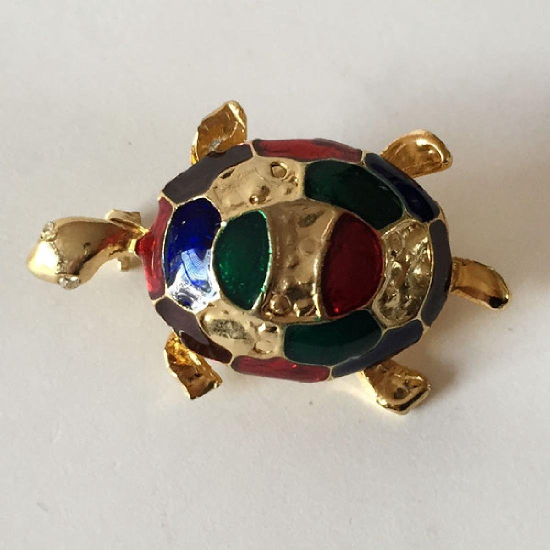 Gold plated TURTLE shaped brooch with multi color - 2