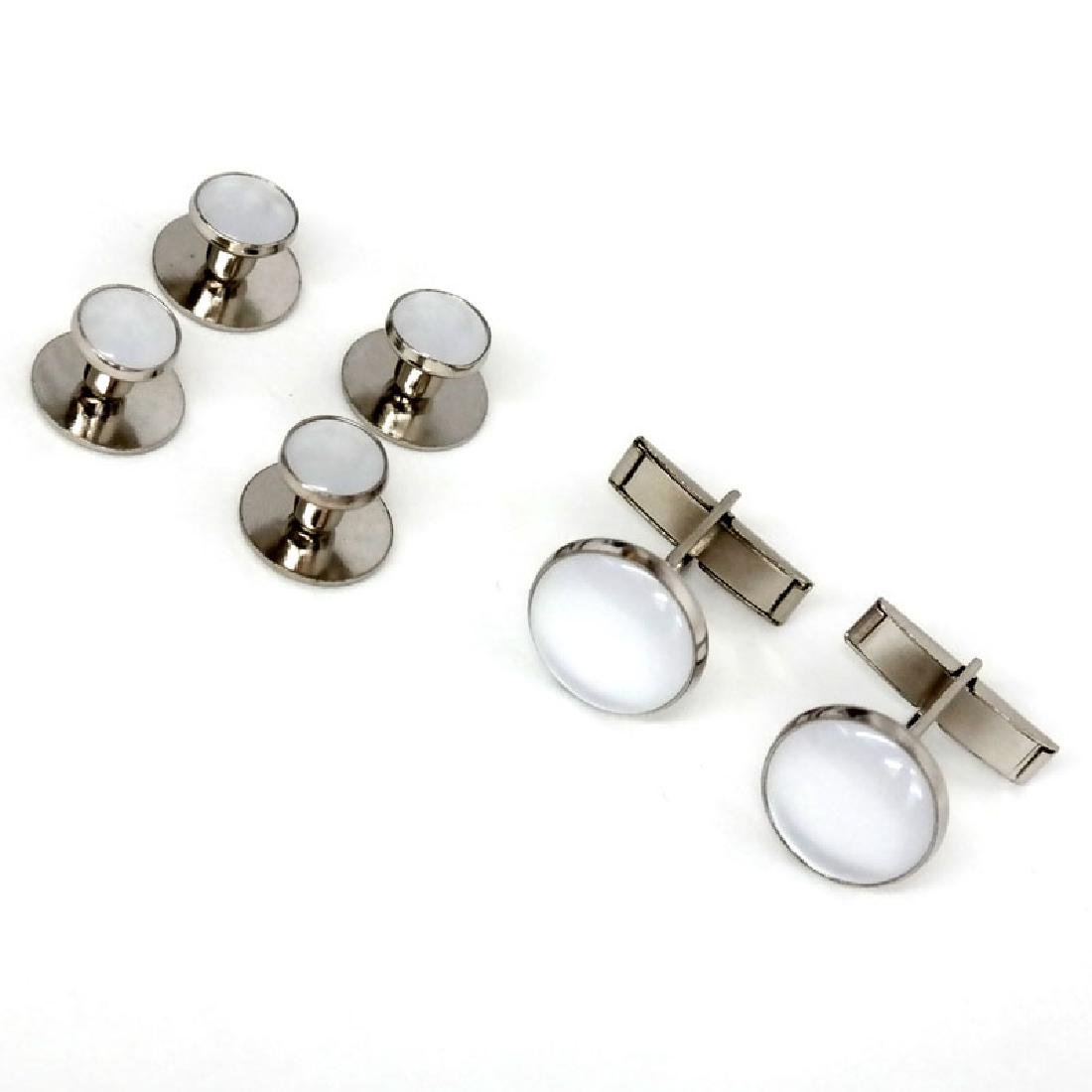 Silver tone SET - pair of cufflinks and 4 buttons with - 4